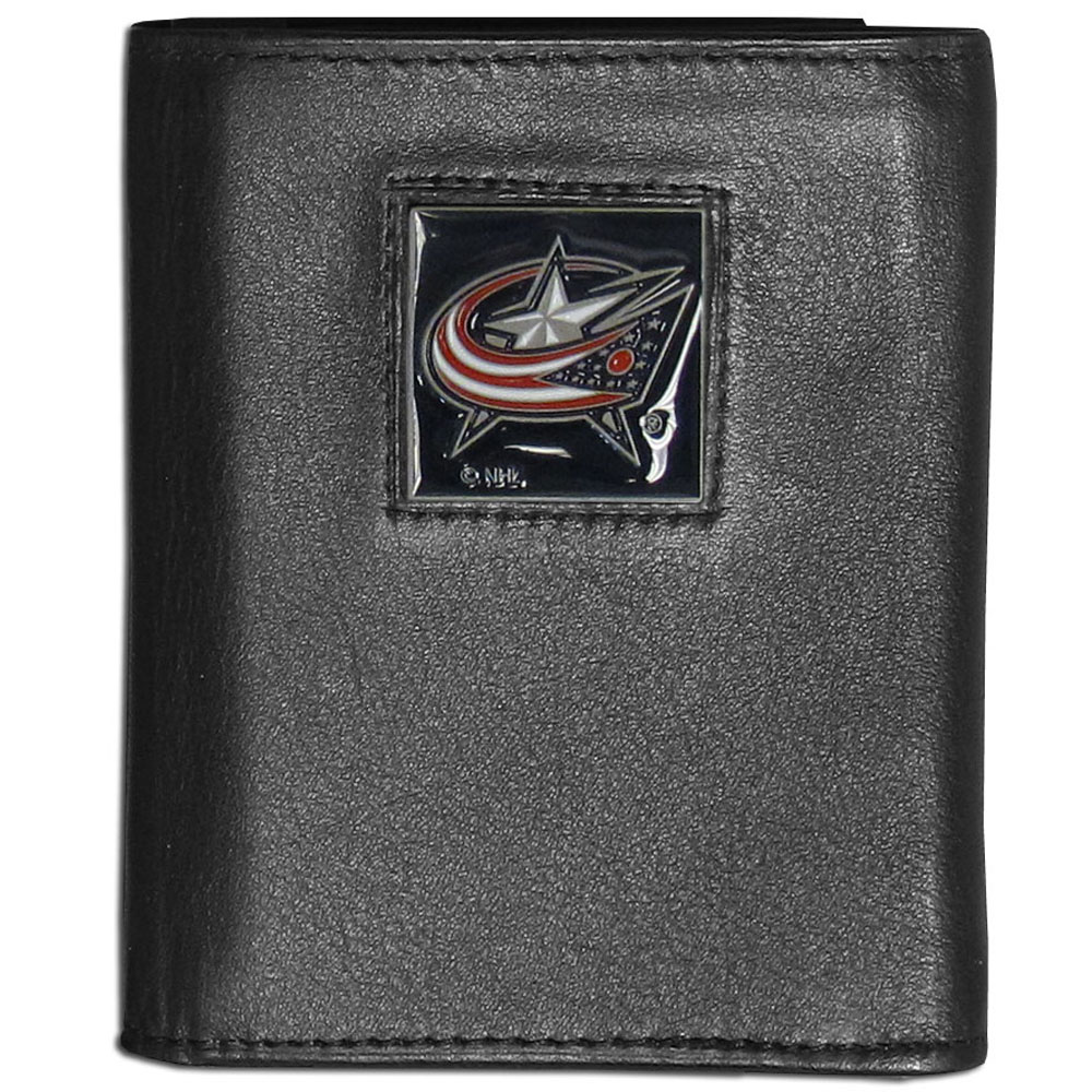 Columbus Blue Jackets® Leather Tri-fold Wallet - Our Columbus Blue Jackets® leather tri-fold wallet features a sculpted and hand painted team square on a black leather tri-fold. Includes an ID window, slots for credit cards and clear plastic photo sleeves. For a sporty feel, the liner of the wallet is made with a canvas liner.