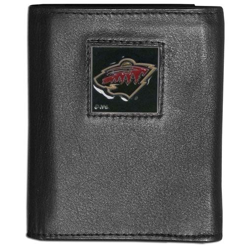 Minnesota Wild Leather Tri-fold Wallet - NHL Minnesota Wild leather/nylon tri-fold wallet features a sculpted and hand painted Minnesota Wild square on a black leather trifold. Includes an ID window, slots for credit cards and clear plastic photo sleeves.  For a sporty feel, the liner of the Minnesota Wild wallet is made with a canvas liner. Thank you for visiting CrazedOutSports
