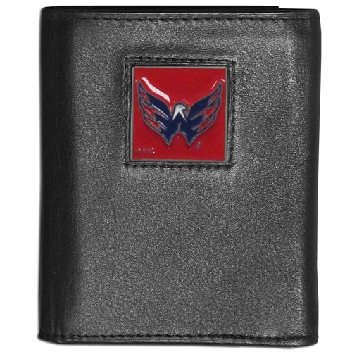 Washington Capitals Leather Tri-fold Wallet - NHL Washington Capitals leather/nylon tri-fold wallet features a sculpted and hand painted Washington Capitals square on a black leather trifold Washington Capitals wallet. Includes an ID window, slots for credit cards and clear plastic photo sleeves.  For a sporty feel, the liner of the Washington Capitals wallet is made with a canvas liner. Thank you for visiting CrazedOutSports