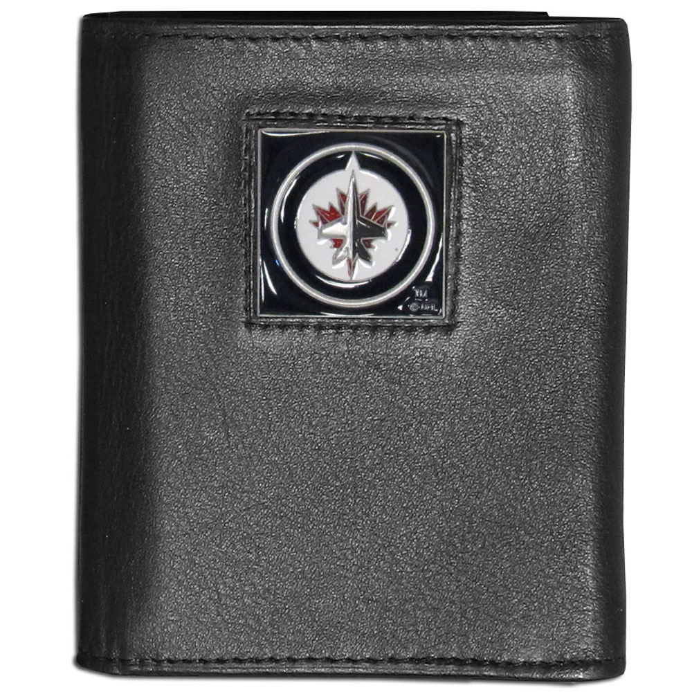 Winnipeg Jets™ Leather Tri-fold Wallet - Our Winnipeg Jets™ leather tri-fold wallet features a sculpted and hand painted team square on a black leather tri-fold. Includes an ID window, slots for credit cards and clear plastic photo sleeves. For a sporty feel, the liner of the wallet is made with a canvas liner.