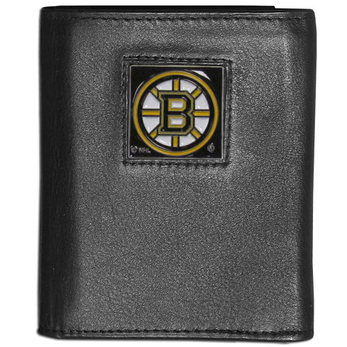 Boston Bruins Leather Tri-fold Wallet - NHL Boston Bruins leather/nylon tri-fold wallet features a sculpted and hand painted Bruins square on a black leather trifold. Includes an ID window, slots for credit cards and clear plastic photo sleeves. For a sporty feel, the liner of the Boston Bruins wallet is made with a canvas liner. Thank you for visiting CrazedOutSports
