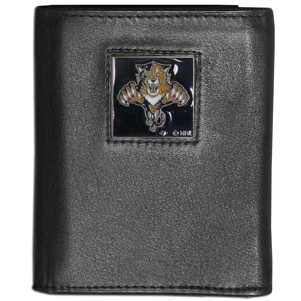 Florida Panthers® Leather Tri-fold Wallet - Our Florida Panthers® leather tri-fold wallet features a sculpted and hand painted team square on a black leather tri-fold. Includes an ID window, slots for credit cards and clear plastic photo sleeves. For a sporty feel, the liner of the wallet is made with a canvas liner.