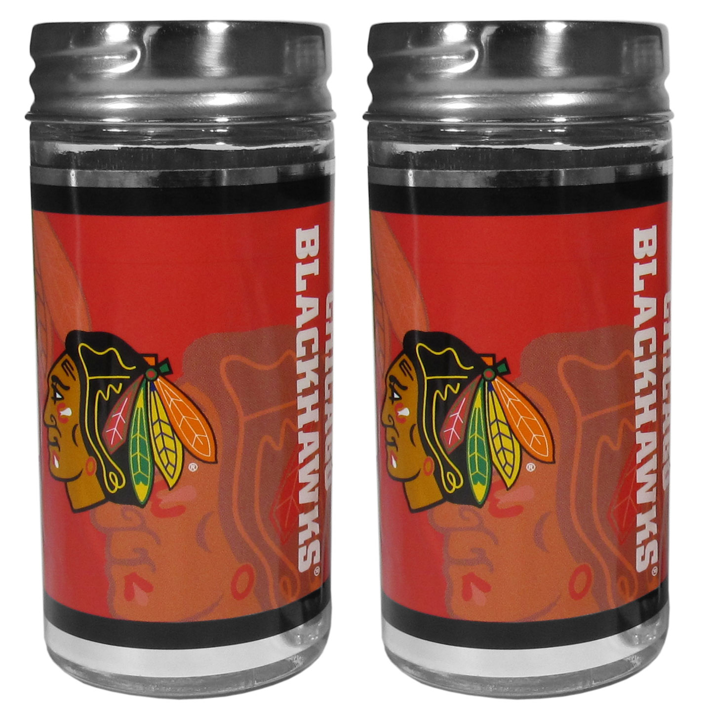 Chicago Blackhawks® Tailgater Salt & Pepper Shakers - No tailgate party is complete without your Chicago Blackhawks® salt & pepper shakers featuring bright team graphics. The glass shakers are 3.75 inches tall and the screw top lids have holes that spell out P and S. These team shakers are a great grill accessory whether you are barbecuing on the patio, picnicing or having a game day party.