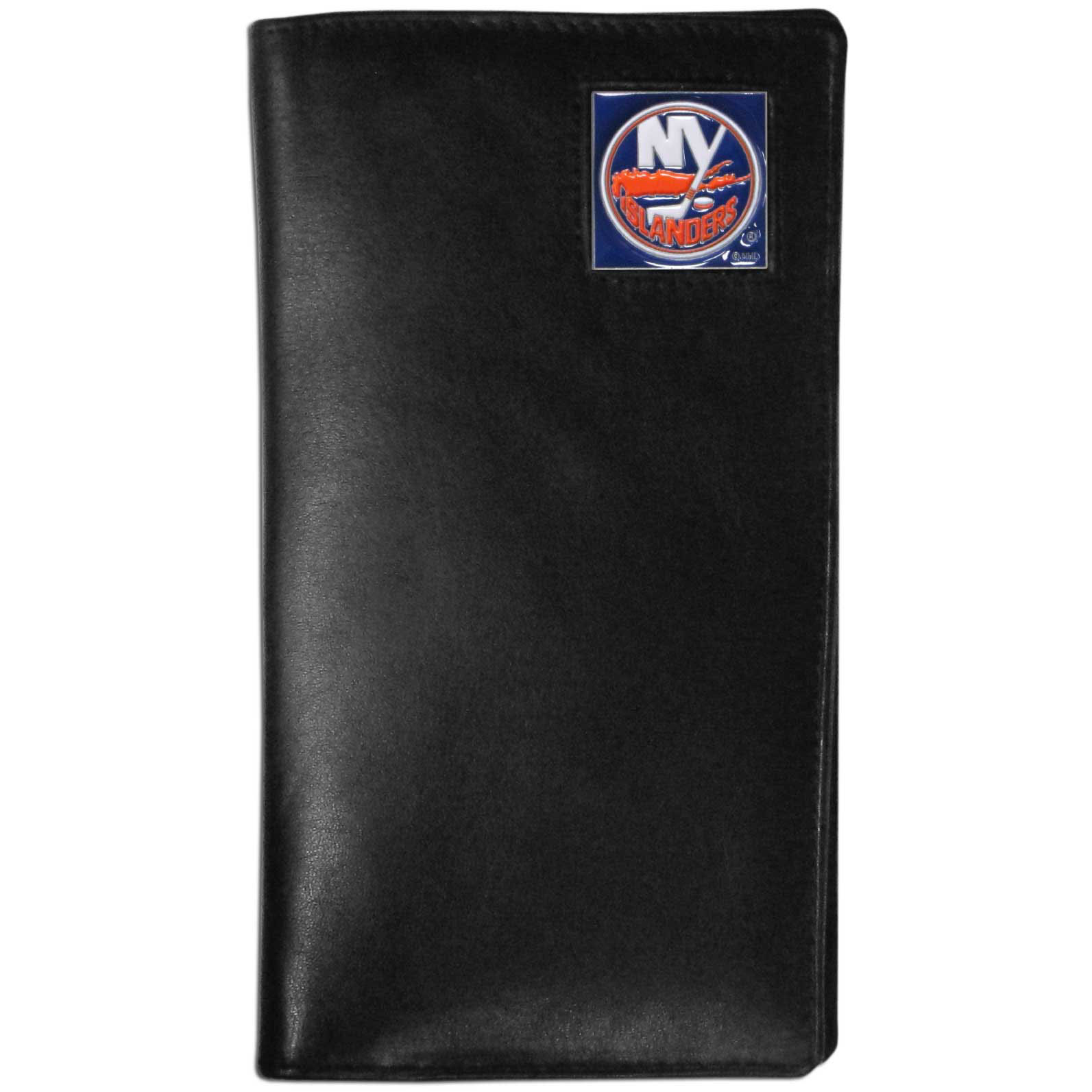 New York Islanders® Leather Tall Wallet - Our officially licensed tall leather wallet cover is made of high quality leather with a fully cast metal New York Islanders® emblem with enameled team color detail. The cover fits both side and top loaded checks and includes a large zippered pocket, windowed ID slot, numerous credit card slots and billfold pocket.