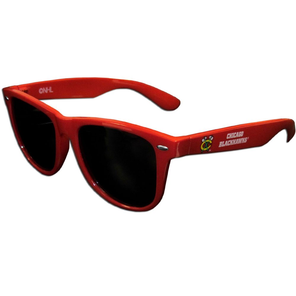 Chicago Blackhawks® Beachfarer Sunglasses - Our beachfarer sunglass feature the Chicago Blackhawks® logo and name silk screened on the arm of these great retro glasses. 400 UVA protection.