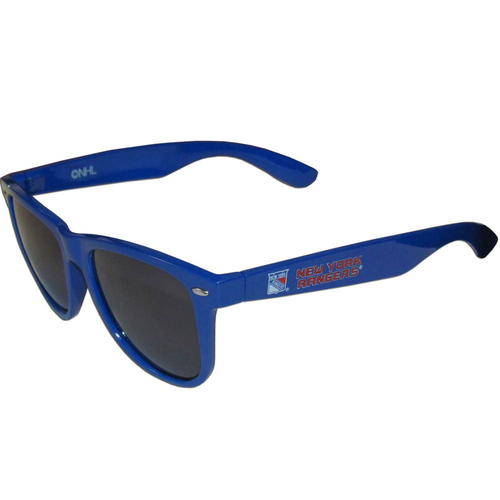 New York Rangers® Beachfarer Sunglasses - Our beachfarer sunglass feature the New York Rangers® logo and name silk screened on the arm of these great retro glasses.  400 UVA protection.