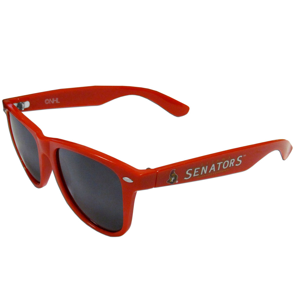 Ottawa Senators® Beachfarer Sunglasses - Our beachfarer sunglass feature the Ottawa Senators® logo and name silk screened on the arm of these great retro glasses. 400 UVA protection.