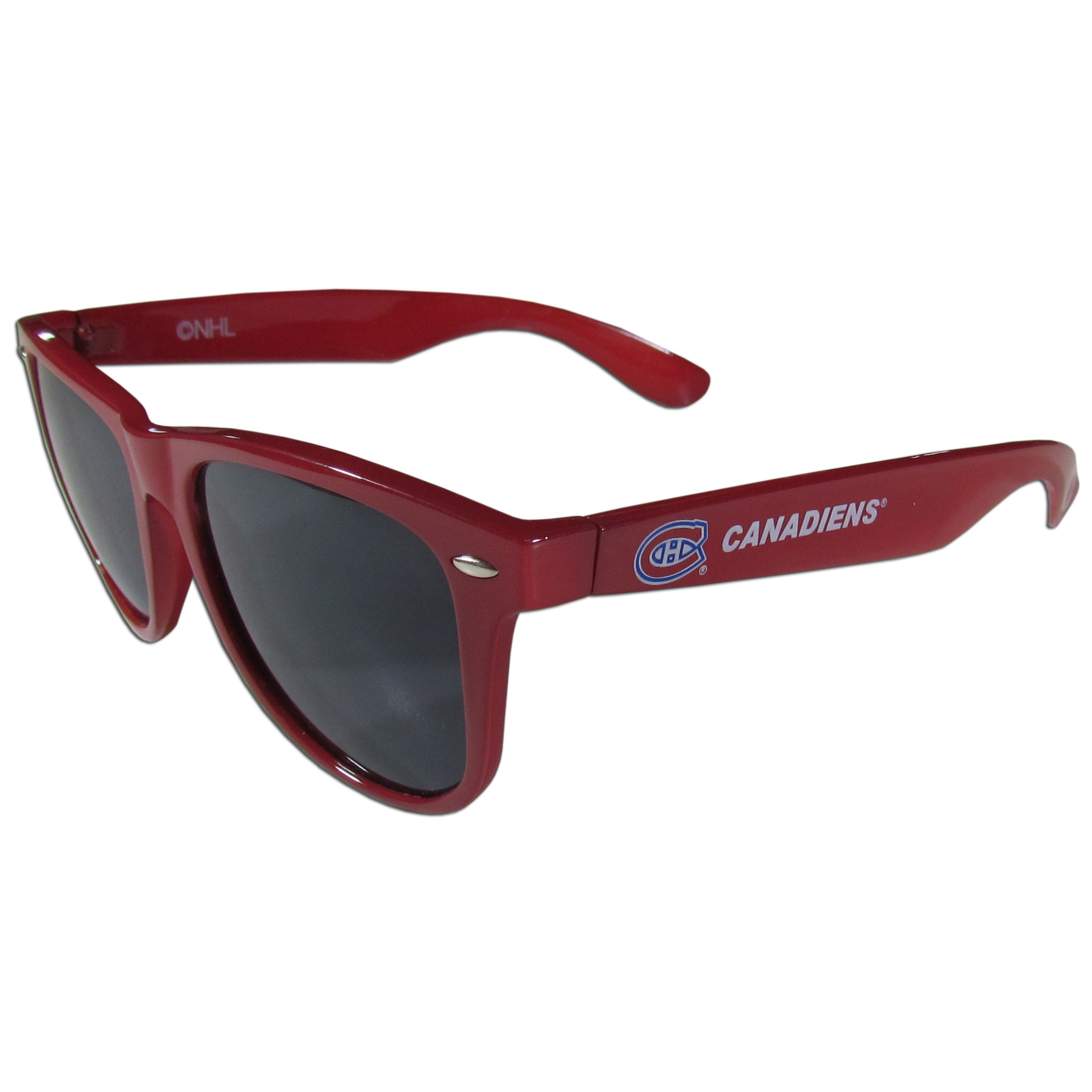 Montreal Canadiens® Beachfarer Sunglasses - Our beachfarer sunglass feature the Montreal Canadiens® logo and name silk screened on the arm of these great retro glasses. 400 UVA protection.