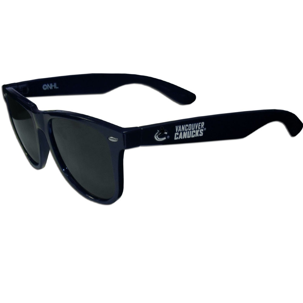 Vancouver Canucks® Beachfarer Sunglasses - Our beachfarer sunglass feature the Vancouver Canucks® logo and name silk screened on the arm of these great retro glasses.  400 UVA protection.