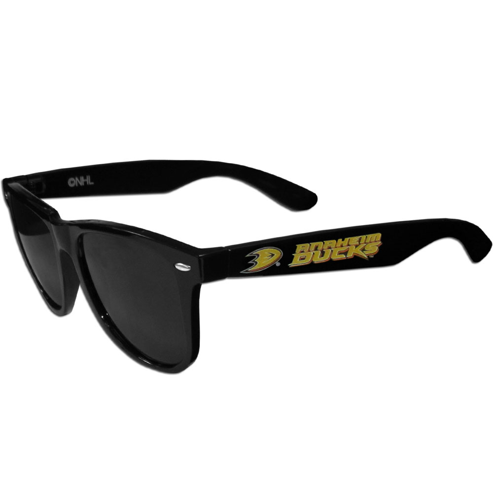 Anaheim Ducks® Beachfarer Sunglasses - Our beachfarer sunglass feature the Anaheim Ducks® logo and name silk screened on the arm of these great retro glasses.  400 UVA protection.