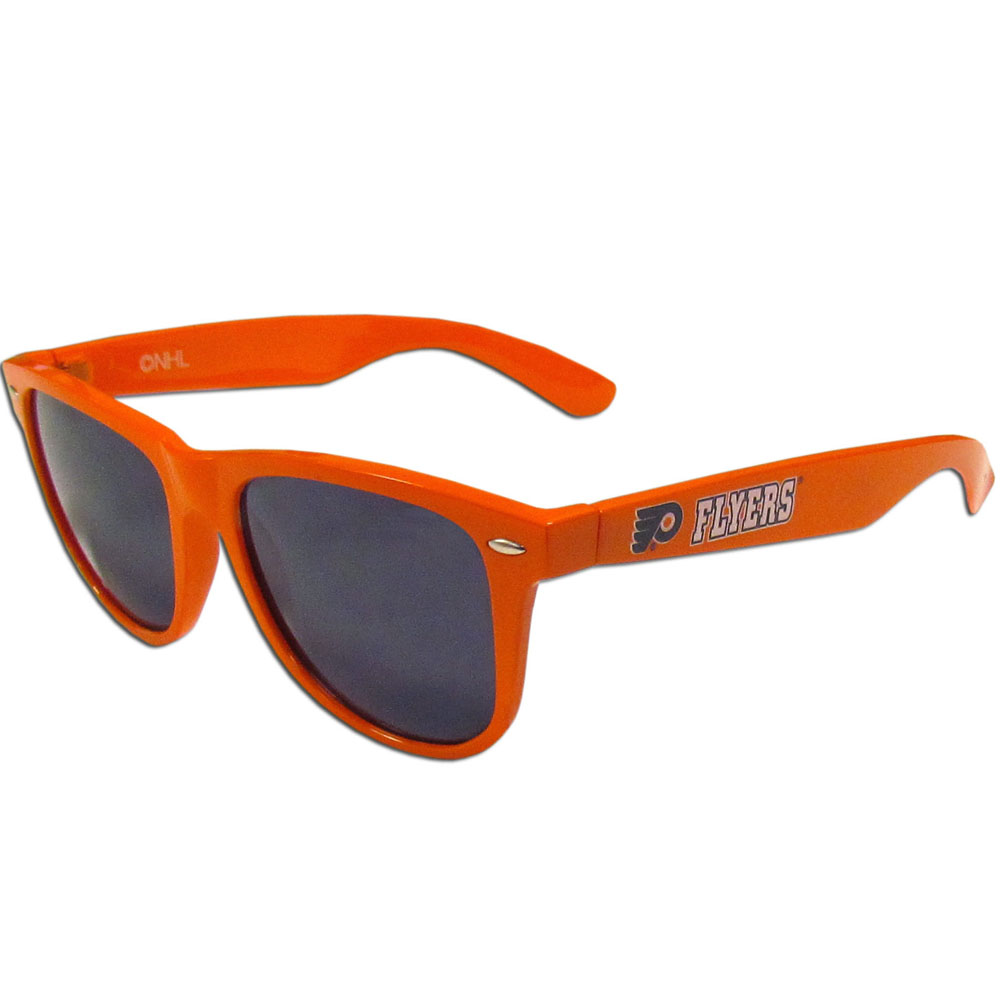 Philadelphia Flyers® Beachfarer Sunglasses - Our beachfarer sunglass feature the Philadelphia Flyers® logo and name silk screened on the arm of these great retro glasses. 400 UVA protection.