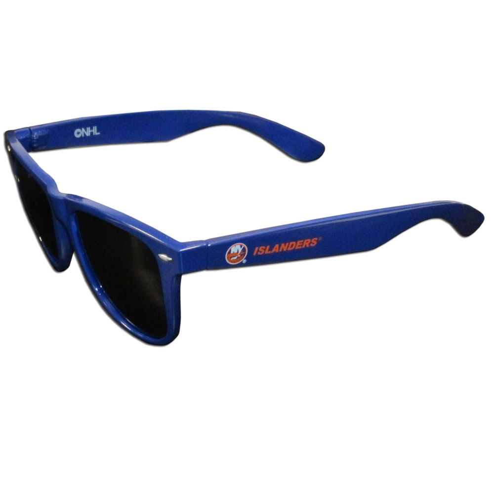 New York Islanders® Beachfarer Sunglasses - Our beachfarer sunglass feature the New York Islanders® logo and name silk screened on the arm of these great retro glasses. 400 UVA protection.