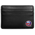 New York Islanders Weekend Wallet - Ditch your bulky wallet! This super slim leather wallet is the perfect weekend companion. The compact design features 2 credit card slots on the front and one on the back and an inner middle pocket for cash. The front of the wallet has a crisp silk screened New York Islanders logo.