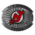 "New Jersey Devils Oversized Buckle - This NHL New Jersey Devils oversized belt buckle is a carved metal buckle with enameled New Jersey Devils colors. Features fine detailing and distinctive background. The New Jersey Devils Oversized Buckle measures 4 x 3 3/8""."
