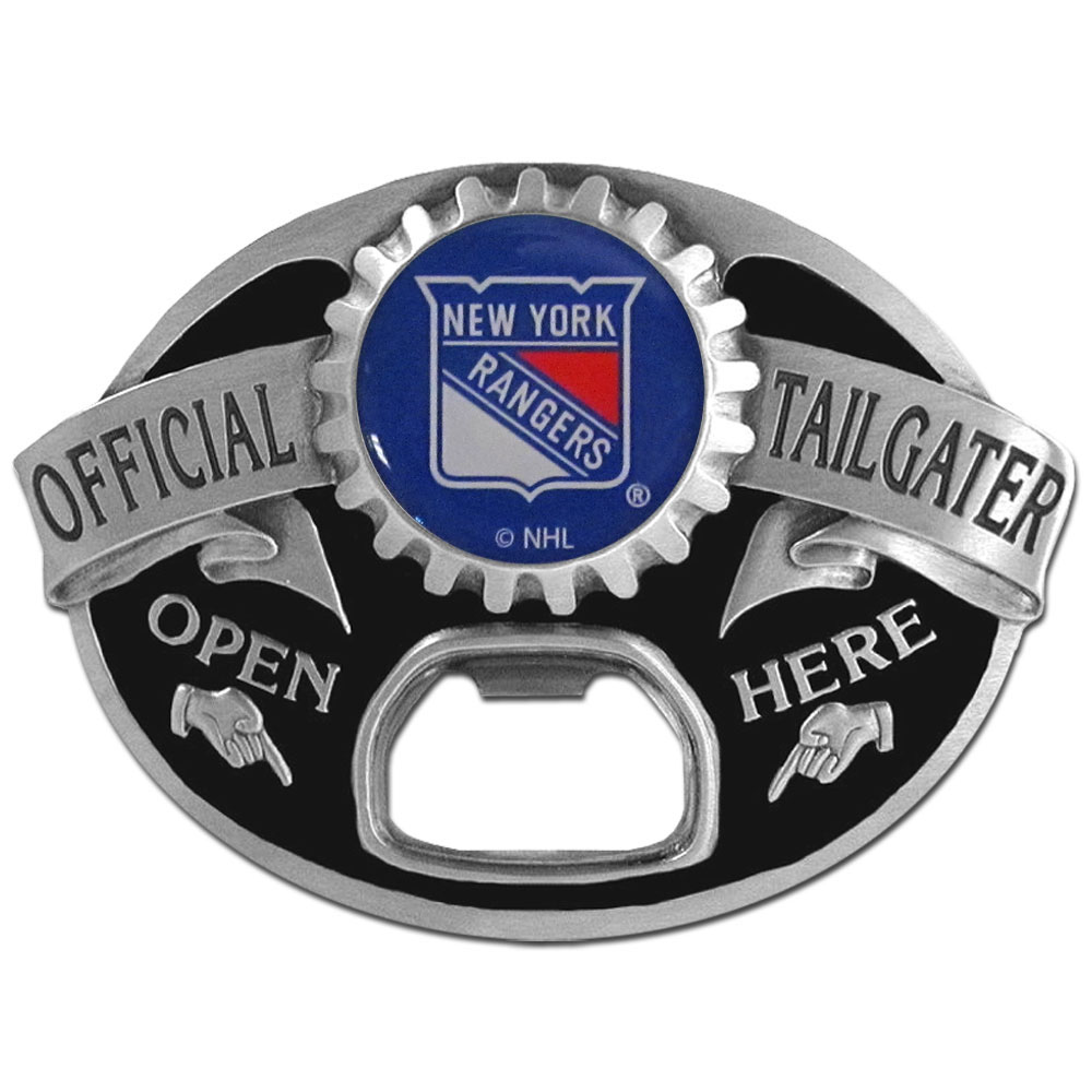 New York Rangers® Tailgater Belt Buckle - Quality detail and sturdy functionality highlight this great tailgater buckle that features an inset domed emblem New York Rangers® dome logo and functional bottle opener.