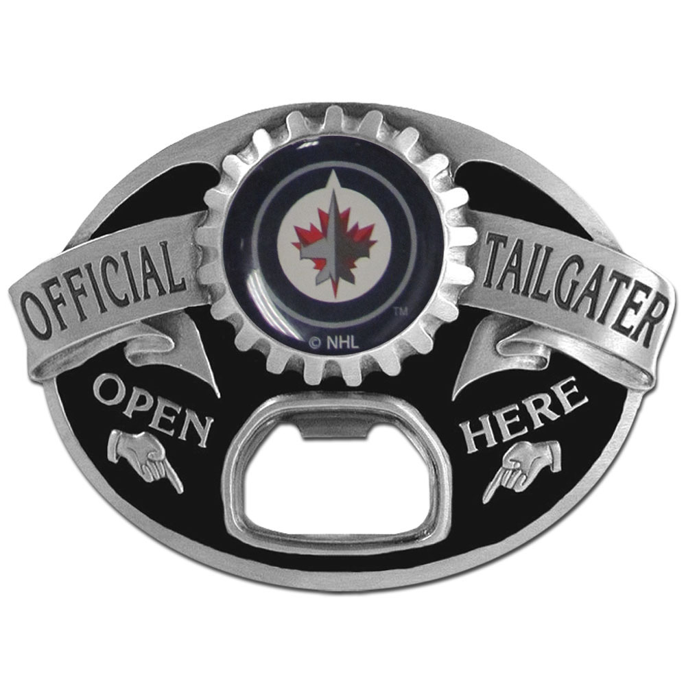 Winnipeg Jets™ Tailgater Belt Buckle - Quality detail and sturdy functionality highlight this great tailgater buckle that features an inset domed emblem Winnipeg Jets™ dome logo and functional bottle opener.