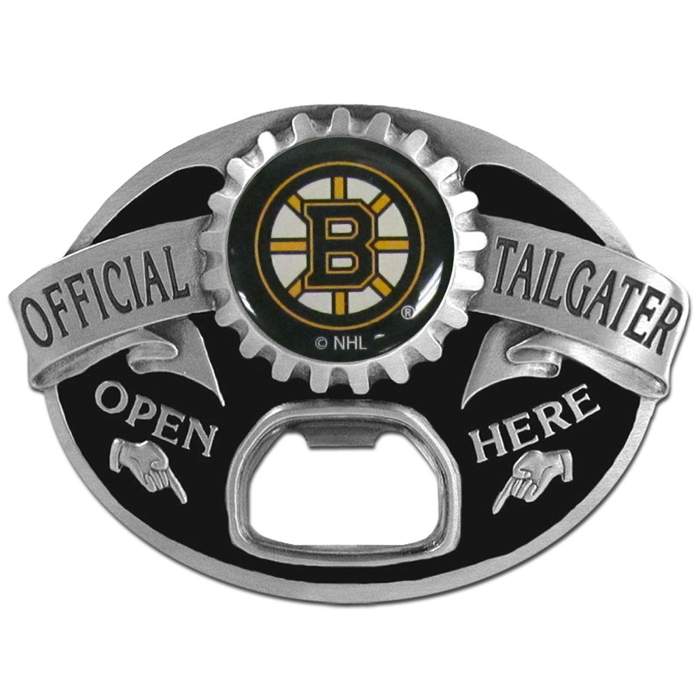 Boston Bruins® Tailgater Belt Buckle - Quality detail and sturdy functionality highlight this great tailgater buckle that features an inset domed emblem Boston Bruins® dome logo and functional bottle opener.