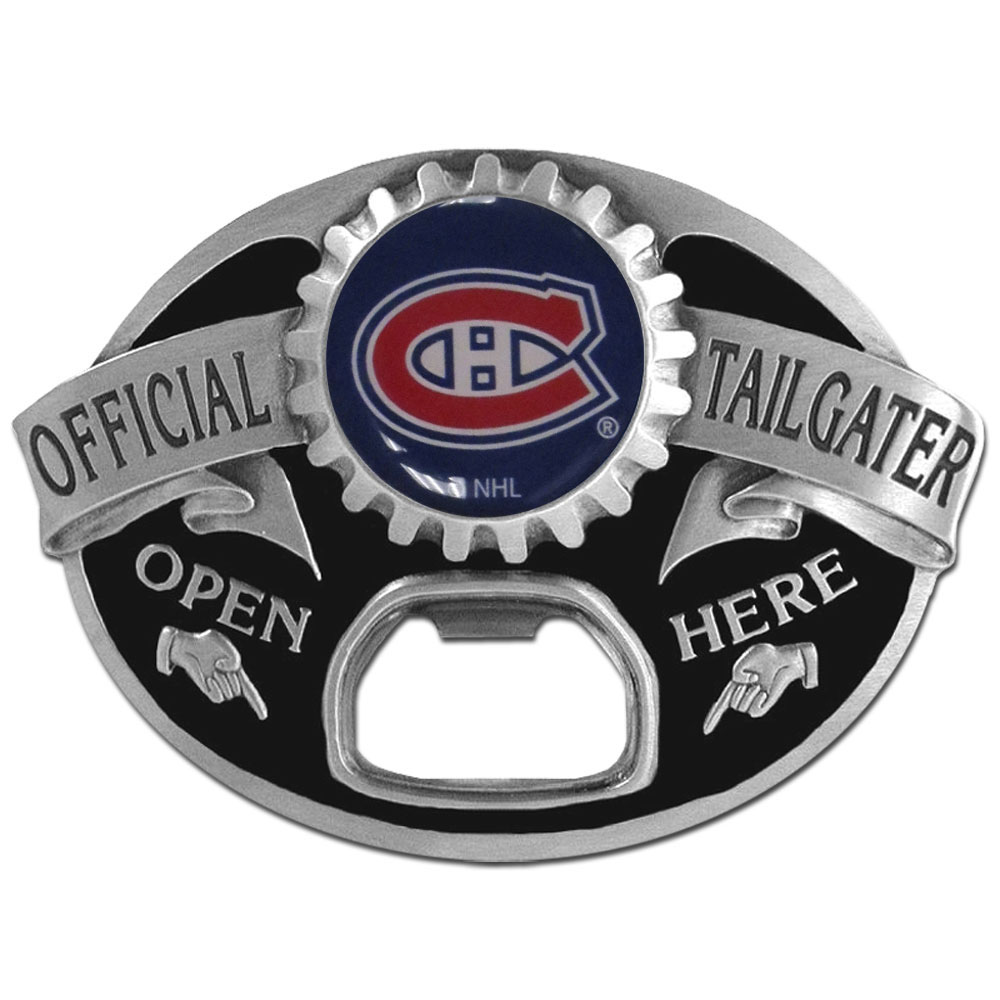Montreal Canadiens® Tailgater Belt Buckle - Quality detail and sturdy functionality highlight this great tailgater buckle that features an inset domed emblem Montreal Canadiens® dome logo and functional bottle opener.