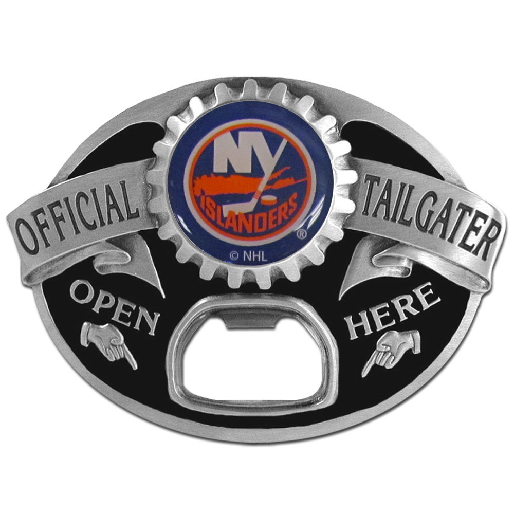 New York Islanders® Tailgater Belt Buckle - Quality detail and sturdy functionality highlight this great tailgater buckle that features an inset domed emblem New York Islanders® dome logo and functional bottle opener.