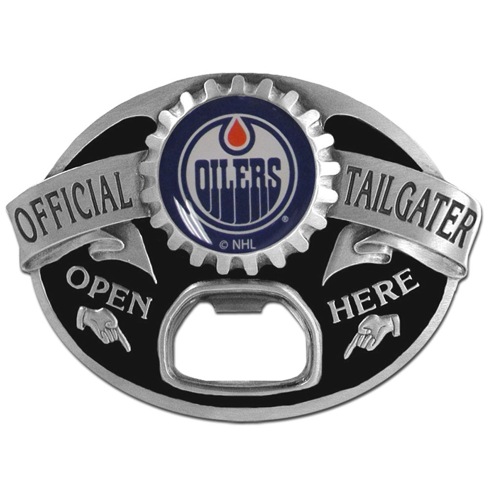 Edmonton Oilers® Tailgater Belt Buckle - Quality detail and sturdy functionality highlight this great tailgater buckle that features an inset domed emblem Edmonton Oilers® dome logo and functional bottle opener.