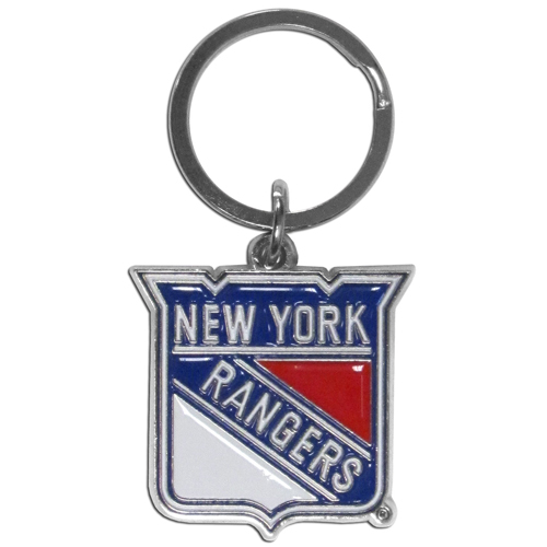New York Rangers Chrome & Enameled Key Chain - Officially licensed New York Rangers chrome key chain is logo cut and enamel filled with a high polish chrome finish. Thank you for visiting CrazedOutSports