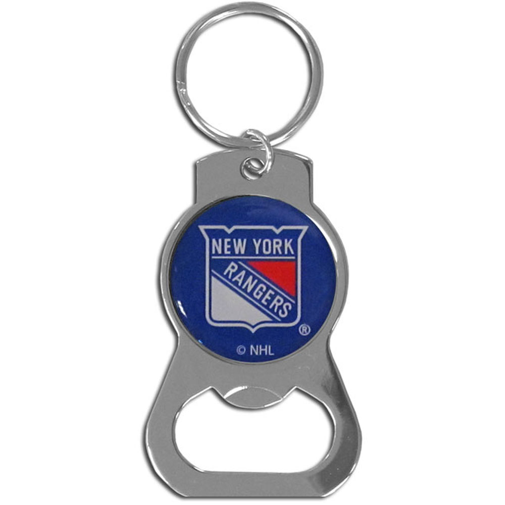 New York Rangers® Bottle Opener Key Chain - Hate searching for a bottle opener, get our New York Rangers® bottle opener key chain and never have to search again! The high polish key chain features a bright team emblem.