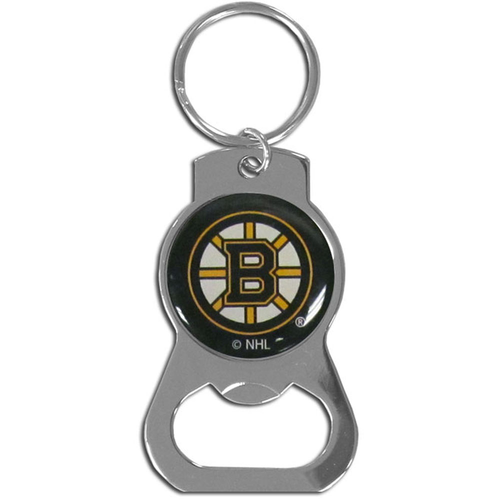 Boston Bruins® Bottle Opener Key Chain - Hate searching for a bottle opener, get our Boston Bruins® bottle opener key chain and never have to search again! The high polish key chain features a bright team emblem.