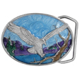 Small Eagle Landing Enameled Belt Buckle