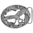 Eagle with Feathers and Scroll Border Antiqued Belt Buckle