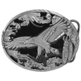 Eagle in Flight with Western Scroll Enameled Belt Buckle