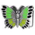 Butterfly Green Enameled Belt Buckle