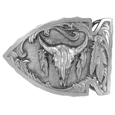 Buffalo Skull Antiqued Belt Buckle