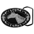 Horse Head (Diamond Cut) Enameled Belt Buckle