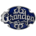Grandpa with Scroll Enameled Belt Buckle