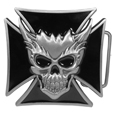 Skull and Maltese Cross Enameled Belt Buckle