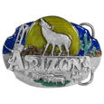 Arizona Howling Wolf Enameled Belt Buckle