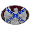 Confederate Flag & Eagle Enameled Belt Buckle