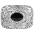Black Stone with Western Scroll Rhinestone Belt Buckle