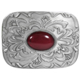 Red Stone with Western Scroll Rhinestone Belt Buckle
