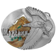 Montana Eagle Enameled Belt Buckle