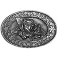 Small Rose Antiqued Belt Buckle