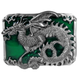 Oriental Dragon with Scroll Enameled Belt Buckle