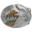 Alaska Eagle Enameled Belt Buckle
