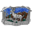 Bow hunting with Deer Enameled Belt Buckle