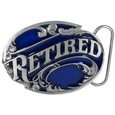 Retired with Scroll Enameled Belt Buckle