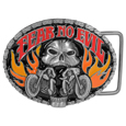 Fear No Evil Skull/Motorcycle Enameled Belt Buckle