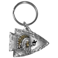 Native American Chief on Arrowhead Metal Key Chain with Enameled Details