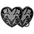 Double Heart (Diamond Cut) Enameled Belt Buckle