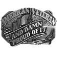 American Veteran and Damn Proud of it Antiqued Belt Buckle