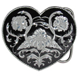 Western Heart (Diamond Cut) Enameled Belt Buckle
